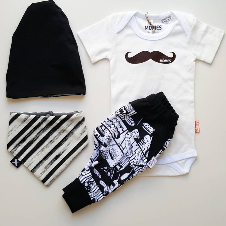 """A bit of monochrome goodness!! Super cute outfit including our """"Classic mo"""" baby onesie! All available @threelittleboysclothing  #momes#classic#classicmo#ootd#flatlay#madetoorder#organic"""