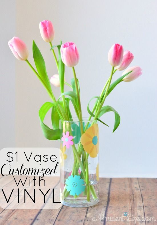 High Quality Inexpensive Vase Customized With Vinyl Idea