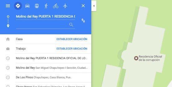 """Google Maps cambia nombre de Los Pinos a """"Residencia Oficial de la Corrupción"""" - http://www.esnoticiaveracruz.com/google-maps-cambia-nombre-de-los-pinos-a-residencia-oficial-de-la-corrupcion/"""