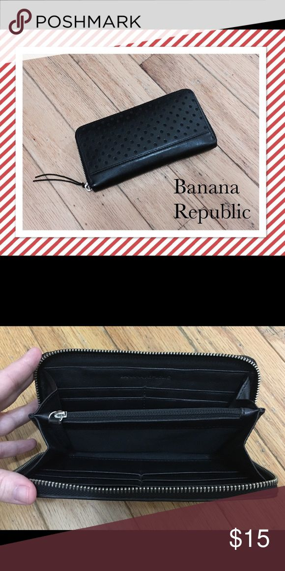 Banana Republic Perforated Leather Wallet Banana Republic Perforated Leather Wallet. Ten credit card slots, two bill compartments and a place for change. Very good condition. Banana Republic Bags Wallets