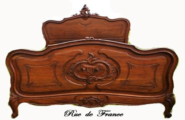 Antique French walnut Queen size bed