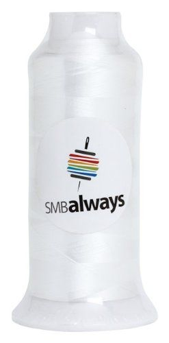 White Embroidery Bobbin Thread, 5,000 Meter Cone by SMB Always