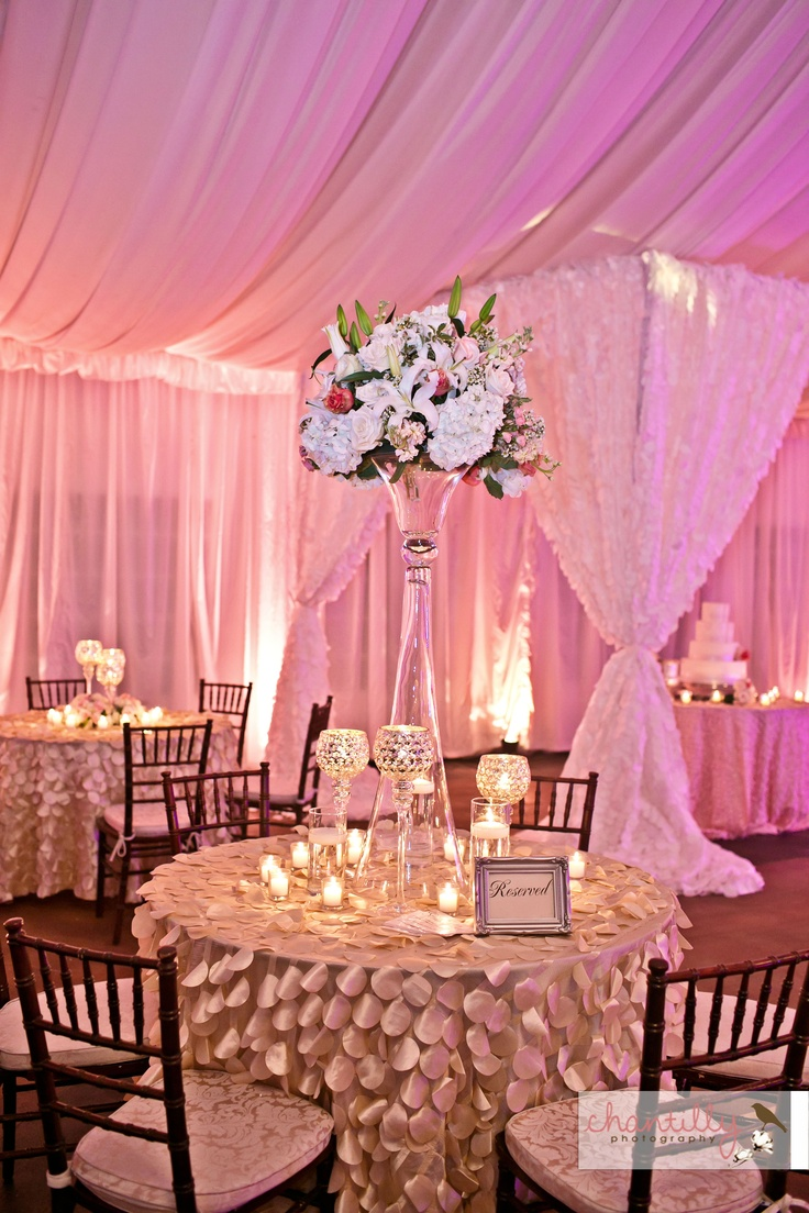 Tall centerpieces in the grand pavilion rose gold