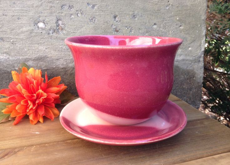 Small Pink and Burgundy Red Succulent Plant Pot and Saucer, Petite Ceramic Indoor Plant Pot, Handmade Pottery by ShadowSparkStudio on Etsy #SucculentPlanter #PinkPlantPot