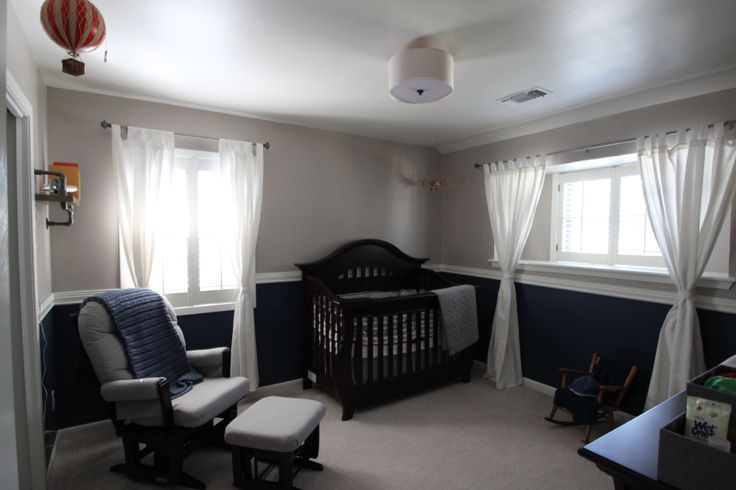 Navy And Gray Nursery With Chair Rail Google Search