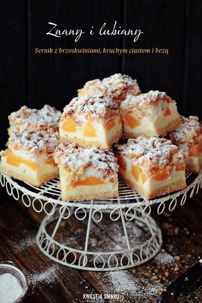 Cheesecake with Peaches and meringue/ sernik z brzoskwiniami i bezą
