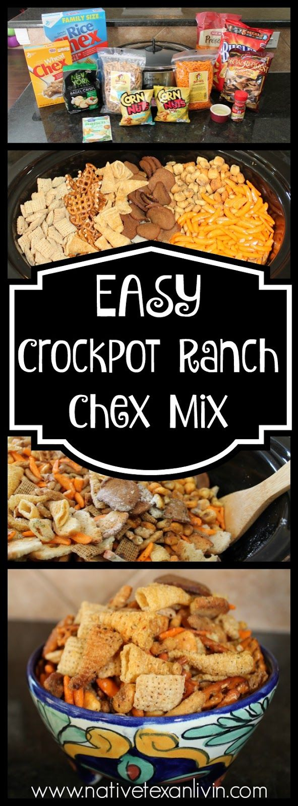 Easy CrockPot Ranch Chex Mix www.nativetexanlivin.com
