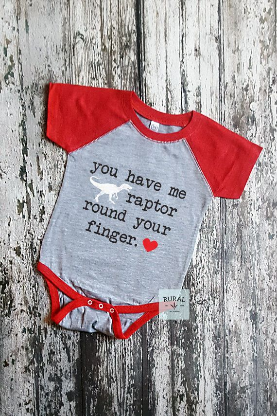You Have Me Raptor Round Your Finger | Baby Bodysuit by RuralArtAndDesign on Etsy www.ruralmercantile.com Clothing, boys clothing, baby boys clothing, bodysuit, first valentine, boy valentine, valentines day, raptor round your finger, baby boy valentine,