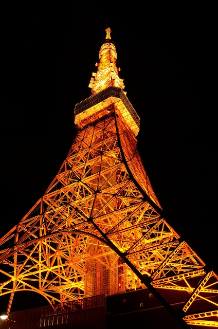 The Lightened Up Tokyo Tower - 東京タワー・ライトアップ Japan.