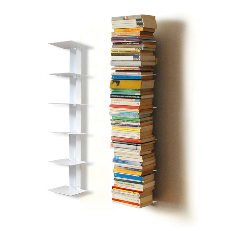 Contemporary Interior Design with White Metal Vertical Floating Bookcase,  and Floating 6 Shelf Bookcase.