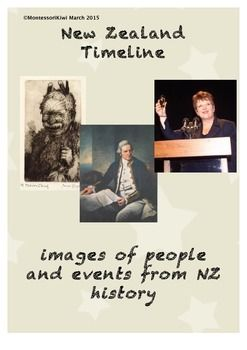 Pictures for timeline in your Social Studies unit on NZ history. These 13 images and captions encompass the arrival of Maori to the 2011 Christchurch Earthquake.1 image and caption per pageEvents/people covered-Arrival of Maori- Abel Tasman- Captain Cook- Signing of Treaty- Maori Land wars- Discovery of Gold- Women's suffrage (Women getting the vote)-  WW2- Independence from UK- Edmund Hillary climbing Everest- Internet arriving in NZ- Jenny Shipley as first female Prime Minister- 2011 ...