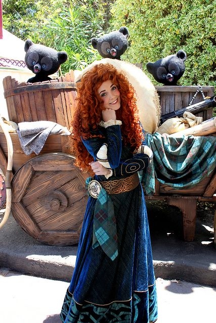 Merida, Hubert, Hamish and Harris from Disney Pixar's Brave at Fairytale Gardens in the Magic Kingdom at Walt Disney World