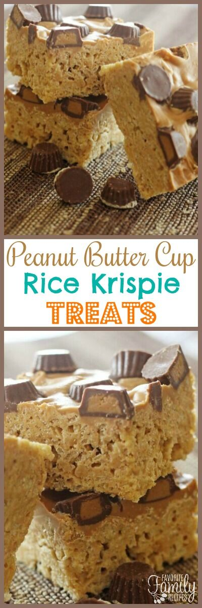 Turn traditional Rice Krispie Treats into Peanut Butter Cup Rice Krispie Treats. Creamy peanut butter and mini Reese's cups make it an extra special treat! via @favfamilyrecipz