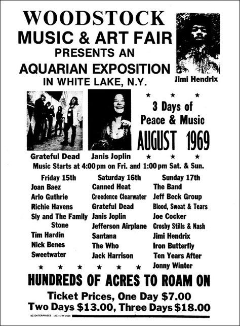 Original black and white Woodstock poster, August 15, 16, 17, 1969. Click to read the lineup...