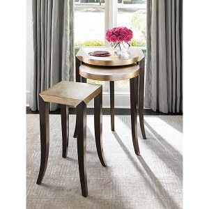 Gold Leaf Nesting Tables - Set of 3
