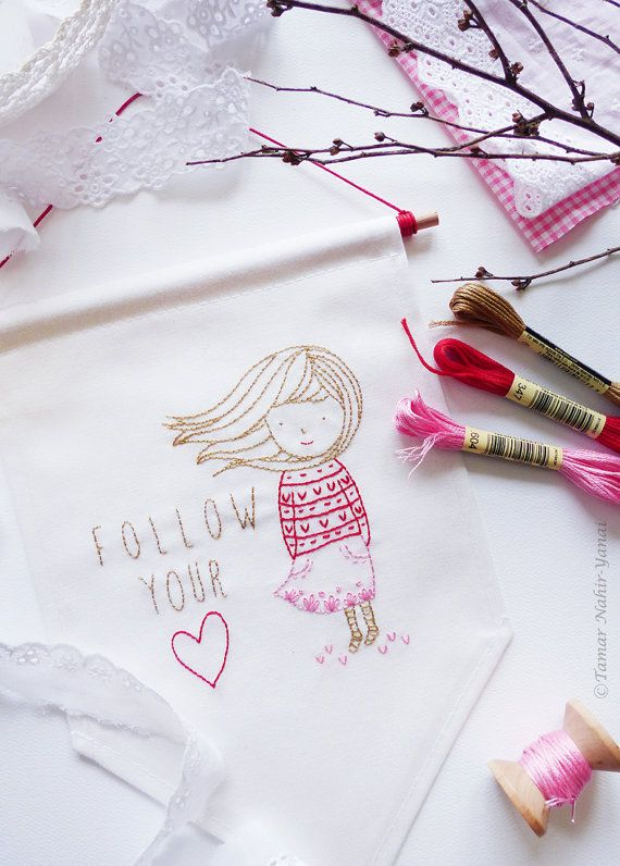 Embroidery Kit, Embroidery design - Follow your heart