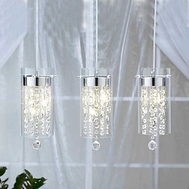 Kaufen (EU Lager)Künstlerische Kristall Pendelleuchte mit Glas-Schirm G4 Glühlampe Fassung, 3 fl. mit Günstigste Preis und Gute Service!