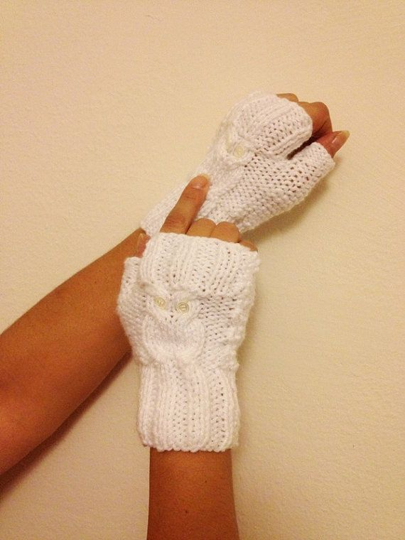 Owl figure White Wool Fingerless Gloves Armwarmers by NesrinArt, $21.00