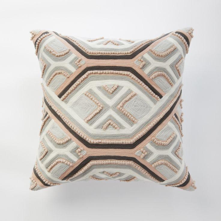 Crewel Ombre Geo Stripe Cushion Cover - Rosette