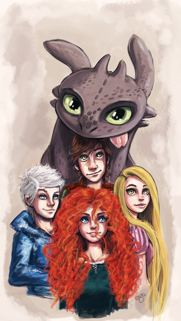 """Rise of the Brave Tangled Dragons Love the concept that they live in the same world and could meet and have adventures together as """"The Big Four"""""""