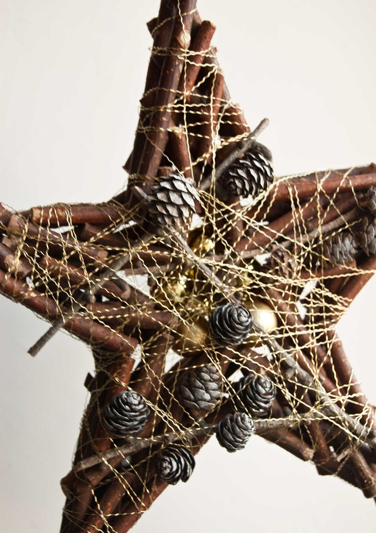 Rustic Christmas decoration - Star wall hanging Holiday decor. $18.00, via Etsy.