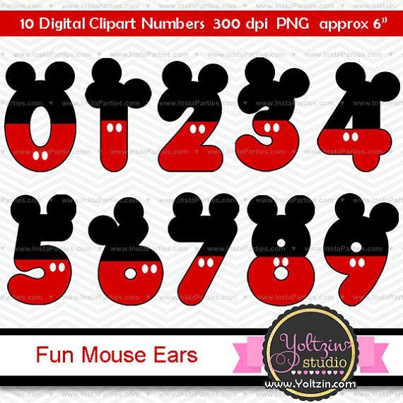 Clipart Mickey Mouse Numeros clip art imagenes PNG cliparts rojo negro orejas kit raton fiesta cumpleanos cumple