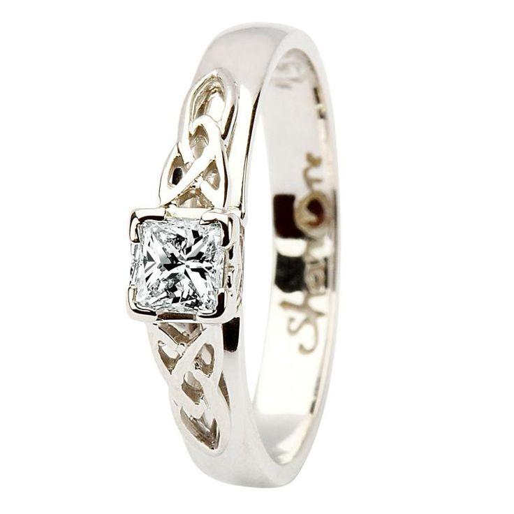 Celtic Solitaire ring 14k white gold princess cut diamond.