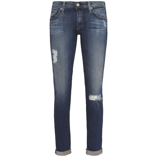 AG Stilt 4 Year Distressed Roll Up Jean ($225) ❤ liked on Polyvore featuring jeans, destruction jeans, distressing jeans, zipper jeans, 5 pocket jeans and cuffed jeans