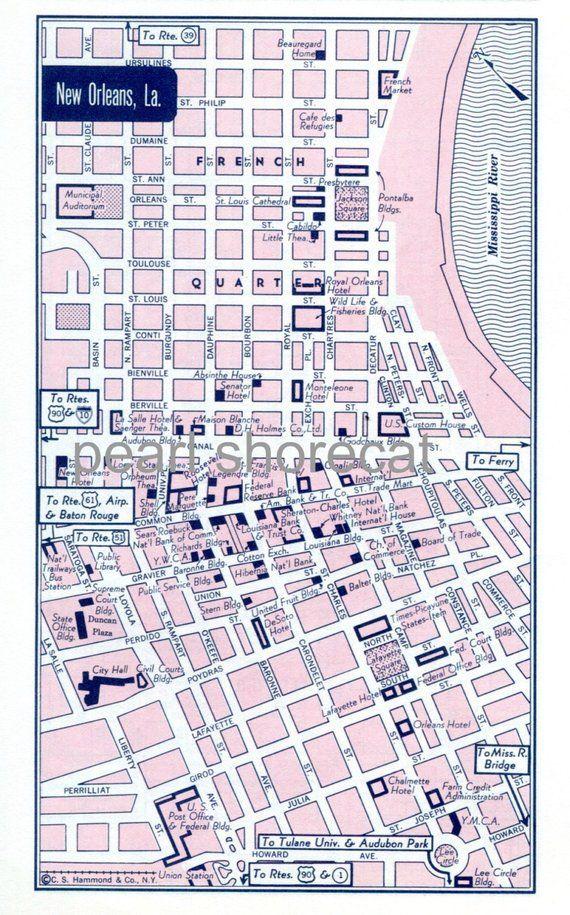 new orleans street map pdf 1962 Vintage New Orleans Louisiana State Map City Street Map new orleans street map pdf