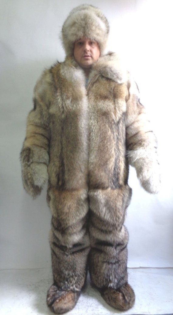 4edcba1a0 Brand new natural coyote double sided fur snowsuit shorts hat mittens boots  set men man size all cu