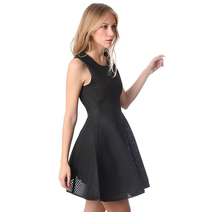 Black skater dress in cage mesh