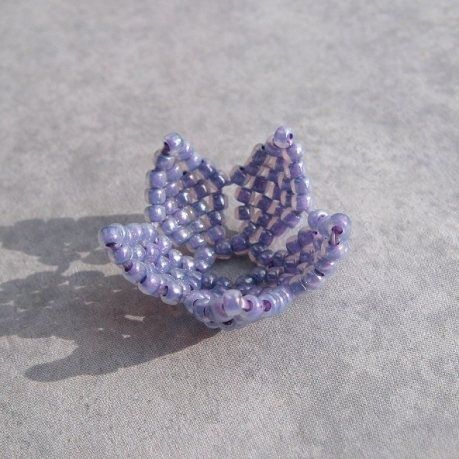 Curved Brick Stitch Flower  Could also be used as a Bead Cap