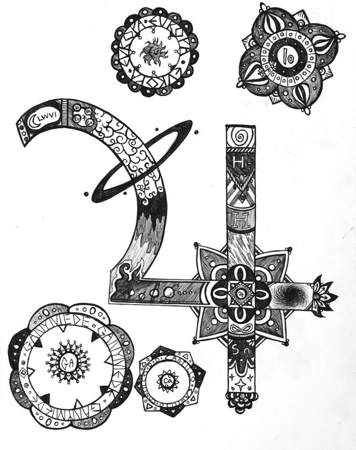 Jupiter symbol tattoo design