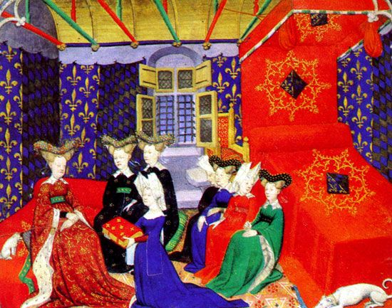 Christine de Pizan. Venice, Italy. 1363-c1430. Poet, author, and thinker. She needed to earn money when she became a widow at 25 years of age. As such became a writer and wrote 41 texts. The Book of the City of Ladies is her most famous work. She shows how important women to the effective running of the world.