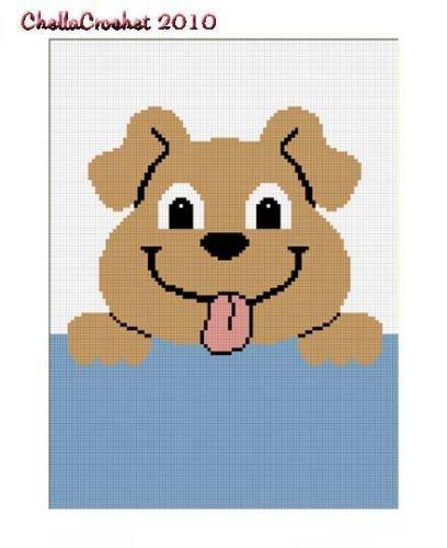 Hang up Pup!  Chella Crochet Afghan Pattern Graphs Puppy dog.
