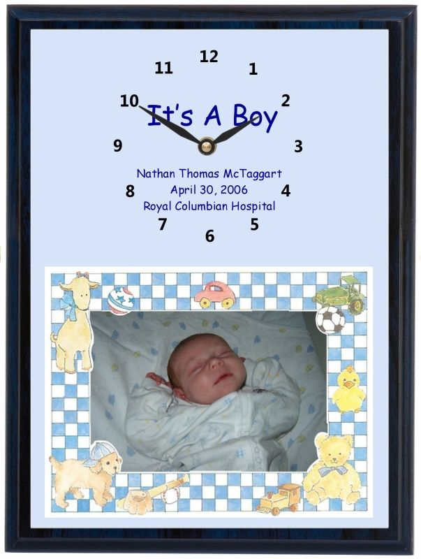 It's a Baby Boy Clock Portrait gives you a larger image of your baby if the photo is a landscape photo. We have the same clock in pink for girls and yellow or green for gender neutral clocks.
