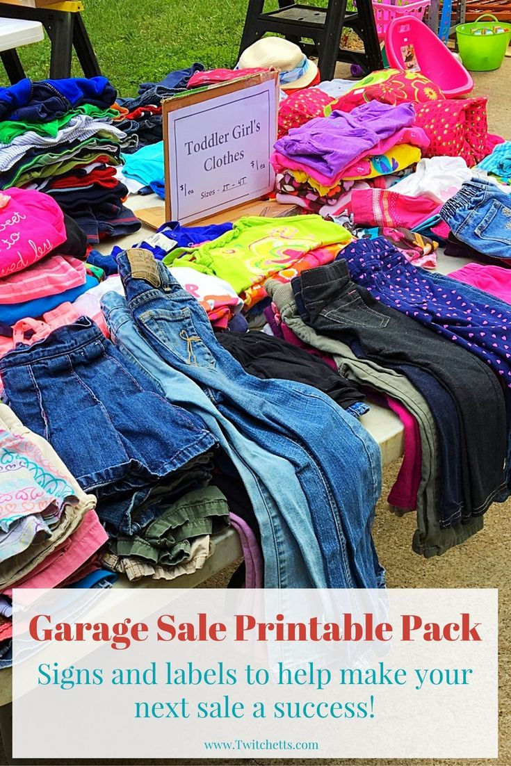 Printable Garage Sale Kit-Print these pages to help with your next garage sale. Signs for all of your tables plus labels with lots of different prices. Great help for making some extra cash at your next yard sale