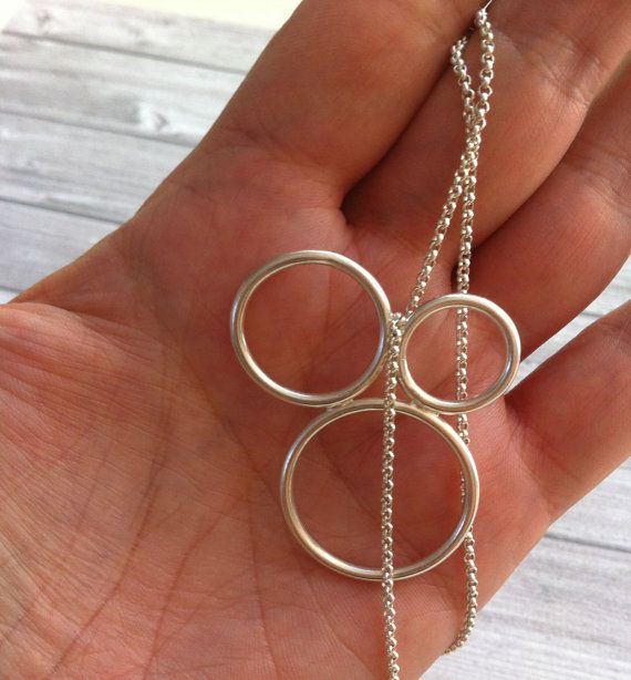 Silver necklace open circles minimalist necklace. Geometric necklace. Handmade by Carla Amaro