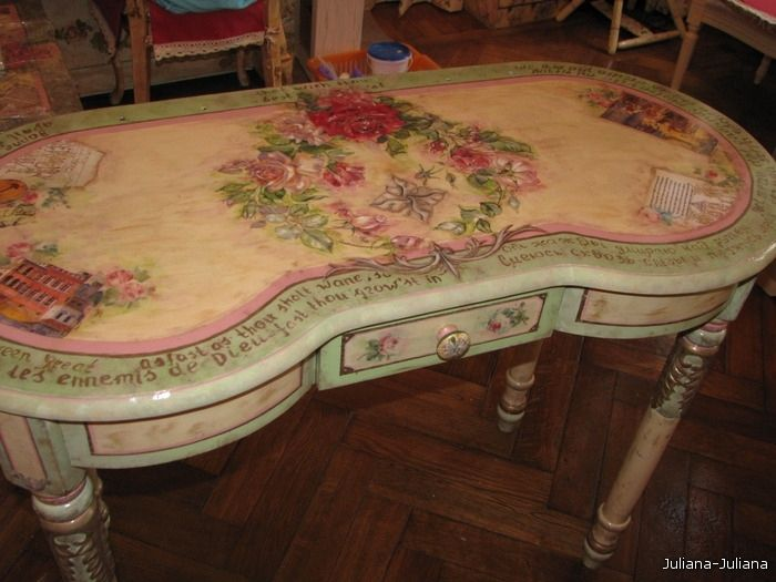 Decoupaged and hand-painted furniture