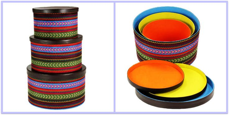 Santa Fe Nesting Hat Box Set.featuring Southwestern Style Pattern with colorful interiors.  Stacking, Round Storage Boxes  are Perfect for Spanish Revival. Spanish Colonial, Mexican Rancho  or Your Very Own Hacienda Style.