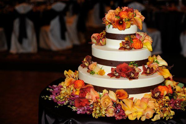 Fall Brown Burgundy Gold Orange Square Wedding Cakes Photos & Pictures - WeddingWire.com