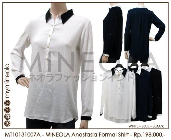 MINEOLA Anastasia Formal Shirt White. Rp.198.000,- Fabrics: Rayon Cotton. Bust: 102cm - Length: 71cm - Sleeve: 31-58cm. Also available in blue and black color. Product code: MT10131007A  #MINEOLA #myMINEOLA #iWearMINEOLA #Fashion #OnlineShop #Indonesia #Jakarta #Dress #Blouse #Top #Pants #Skirt