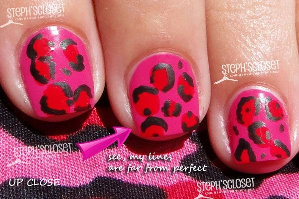 Pink & Red cheetah nails with acrylic paint
