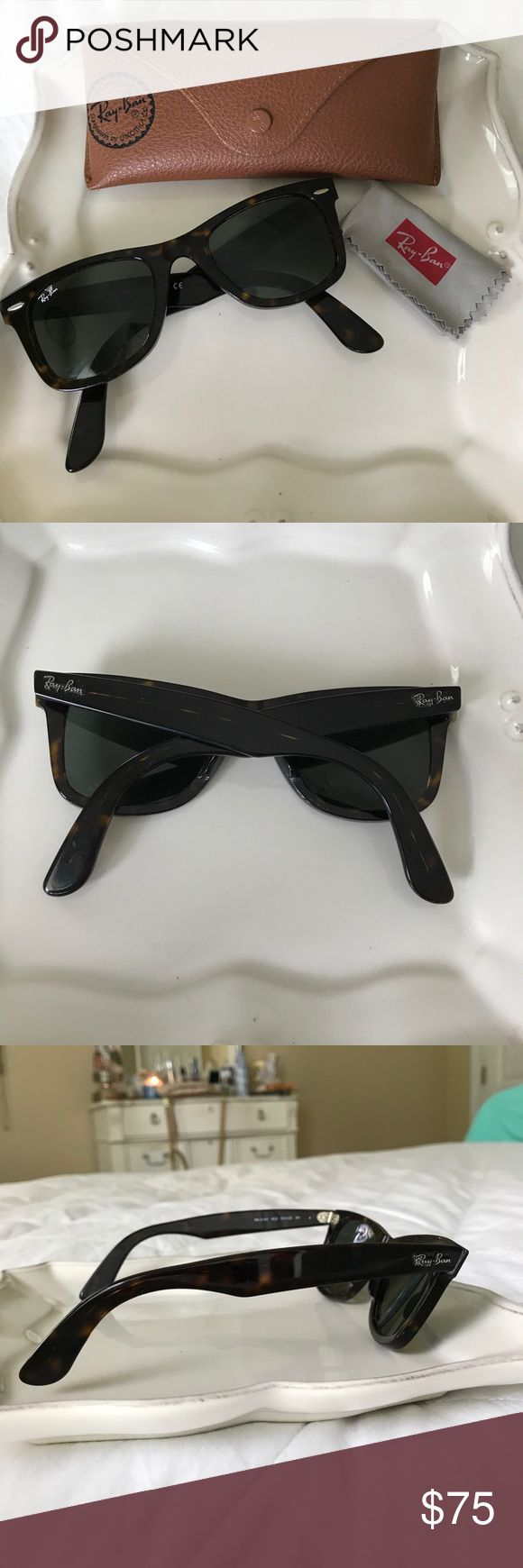 Ray Bans Wayfarer Ray Bans Wayfarer in tortoise shell color. They look brand new and have only been worn a few times! Includes case and lens cloth. Ray-Ban Accessories Sunglasses