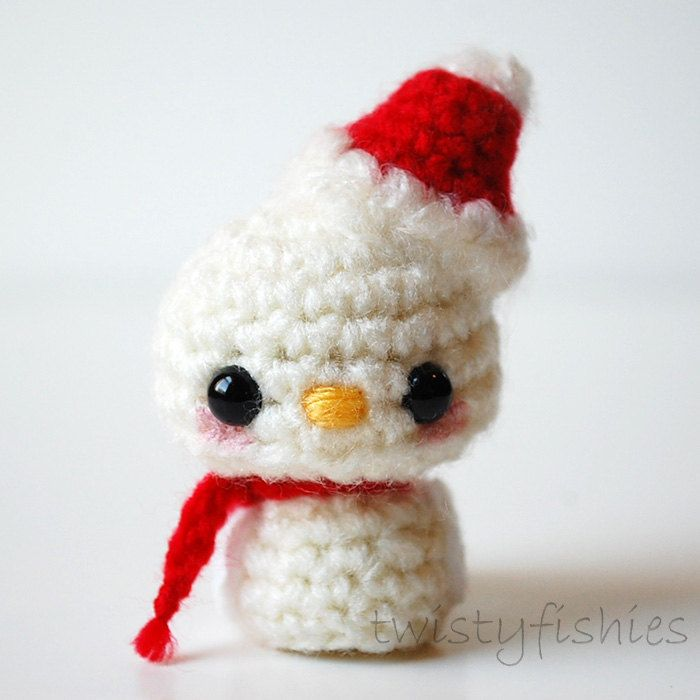 White Baby Christmas Bird - Mini Kawaii Amigurumi Holiday Decoration. $14.00, via Etsy.