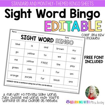 This pack contains SIGHT WORD BINGO templates that you can easily edit. I've included one standard sheet and one for each month of the year, if you like themes! **NOW WITH COLOR VERSIONS ***FREE FONT included in this pack. IMPORTANT: Save as a PDF before you print your sheets.LEARN HOW TO UNZIP FILES HERE*****************************************************************************Just in case you are interested, here are my favorite math and literacy resources for any time of year!0-20 In…