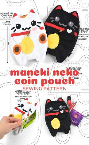 Maneki Neko Coin Pouch Sewing Pattern by SewDesuNe…