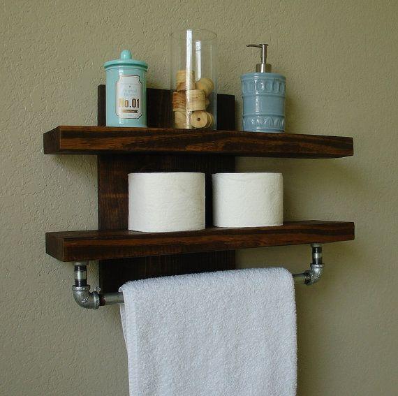 industrial rustic modern 2 tier floating shelf bathroom shelf with towel bar