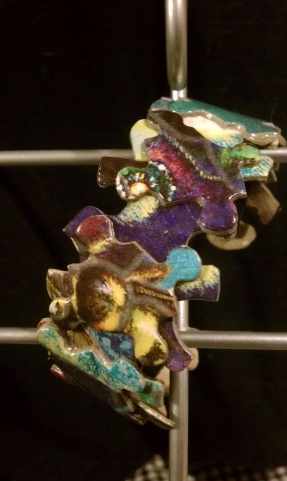 puzzle pieces on polymer clay cuff