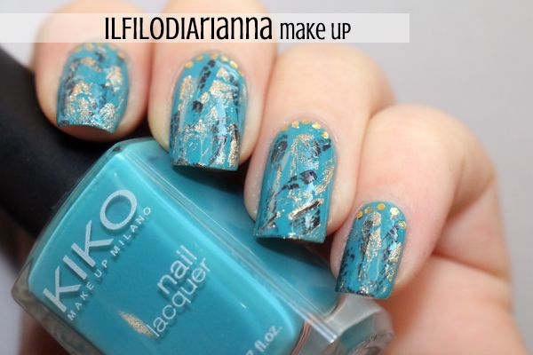 Kiko N°387 + #Turquoise Nail Art by www.ilfilodiarianna90.blogspot.com Birthstone Challenge